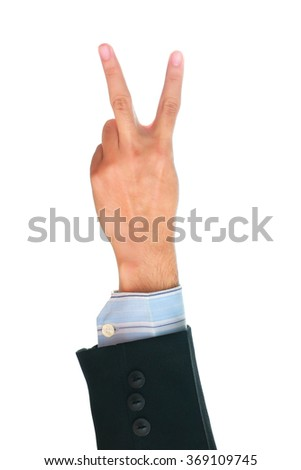 Businessman'hand showing two fingers on white background, Ready to fight concept. - stock photo