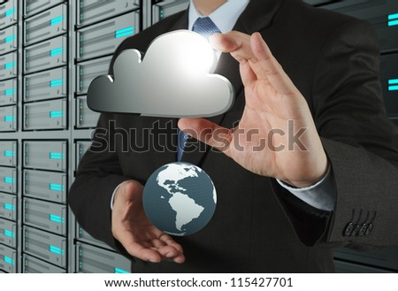 businessman hand shows cloud network and earth sign as concept - stock photo