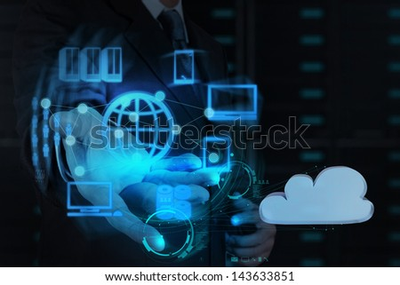 Businessman hand shows cloud network and new technology