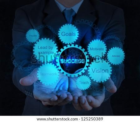 businessman hand shows gear business success chart concept - stock photo
