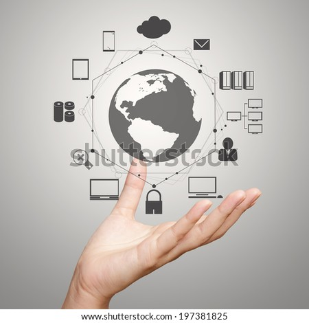 businessman hand shows modern technology diagram  as concept - stock photo