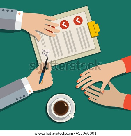 Businessman hand sign business contract paper sheet after agreement, trendy flat design, top view.