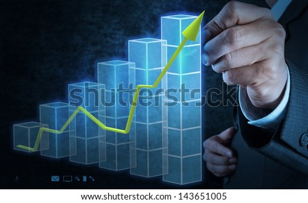 businessman hand touch 3d virtual chart business as concept - stock photo
