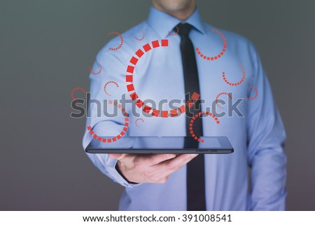 businessman hand touch  gear to success as concept. Business man using tablet PC. - stock photo