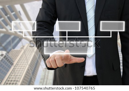 Businessman hand touch screen button of 3 choices blank chart with building background - stock photo