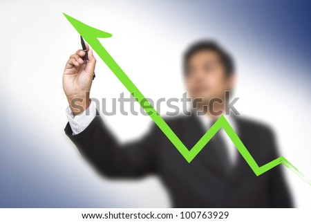 businessman hand touch virtual graph - stock photo