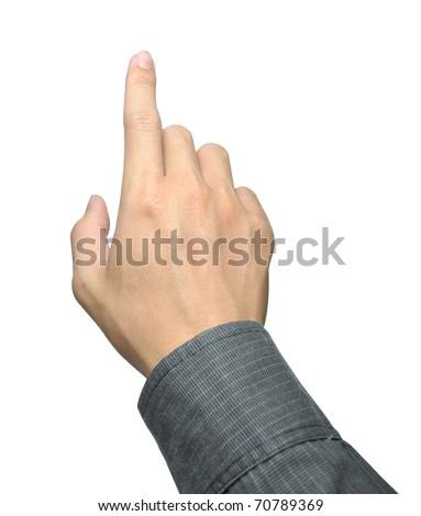 businessman hand touching - stock photo