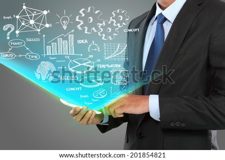 businessman hand touching a chart with smartphone - stock photo