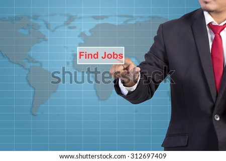 Businessman hand touching FIND JOB tab on virtual screen