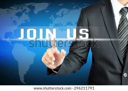 Businessman hand touching JOIN US sign on virtual screen - stock photo