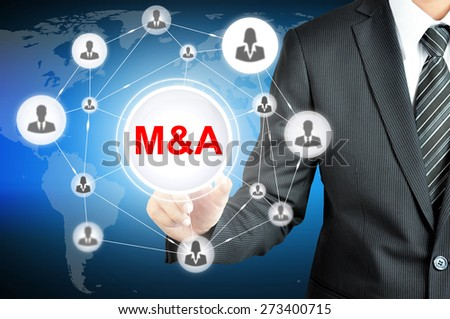 Businessman hand touching M&A sign with businesspeople icon network on virtual screen - stock photo