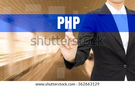 Businessman hand touching Text PHP on virtual screen - stock photo