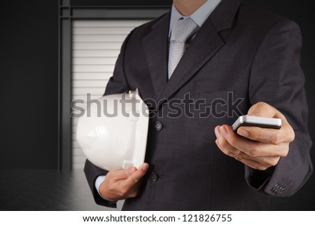 businessman hand use smart phone computer - stock photo