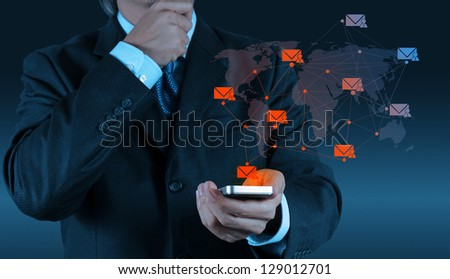 businessman hand use smart phone computer with modern email icon as concept - stock photo
