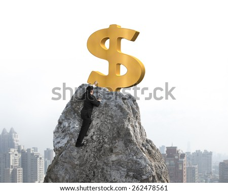 Businessman hand wanting for gold dollar sign on mountain peak with sky cityscape background - stock photo