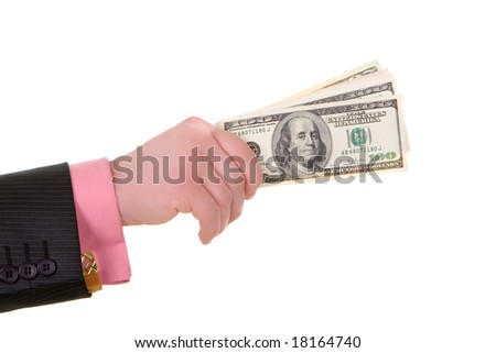 businessman hand with money - stock photo