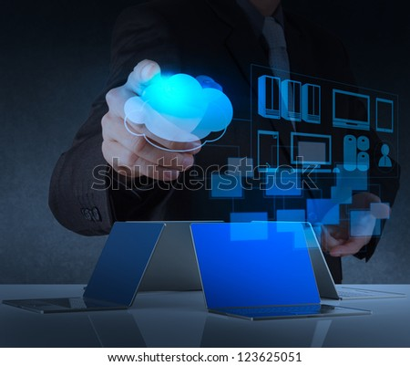 businessman hand working on modern technology and cloud network concept - stock photo