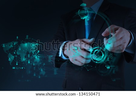 Businessman hand working with a Cloud Computing diagram on the new computer interface
