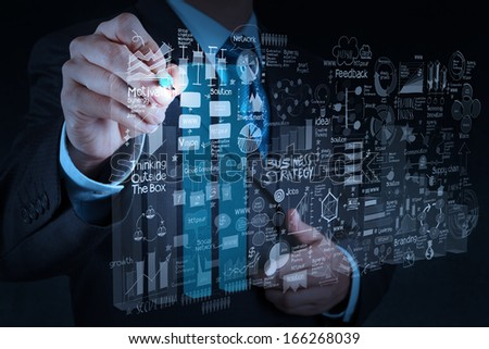 businessman hand working with new modern computer and business strategy as concept - stock photo