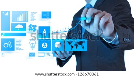 businessman hand working with new modern computer and business success as concept - stock photo