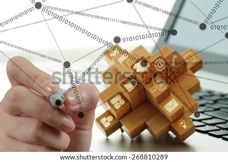 businessman hand working with new modern computer show social network structure as concept  - stock photo