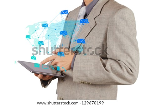 businessman hand working with tablet computer sending email as concept - stock photo