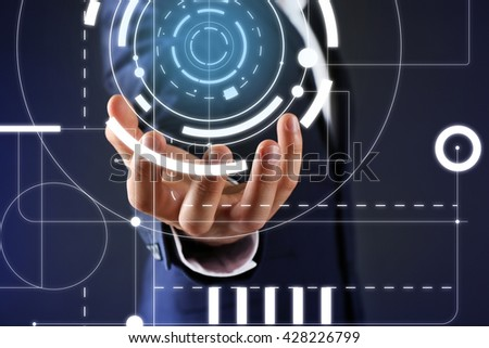 Businessman hand working with virtual screen. Modern technology and business strategy concept - stock photo