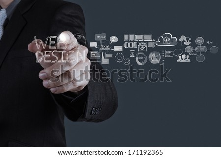 businessman hand  working with  web design diagram as concept  - stock photo