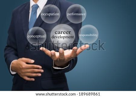 businessman hand write a career development  - stock photo