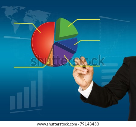 Businessman hand write graph - stock photo