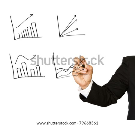 Businessman hand write graph isolated on white - stock photo