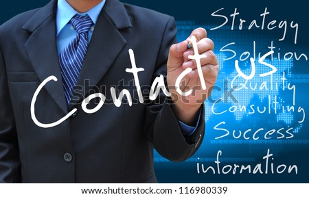 businessman hand writing contact us - stock photo