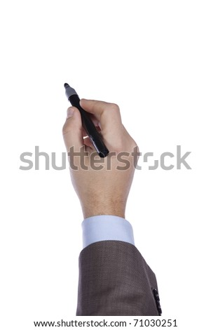 businessman hand writing in the whiteboard (selective focus) - stock photo