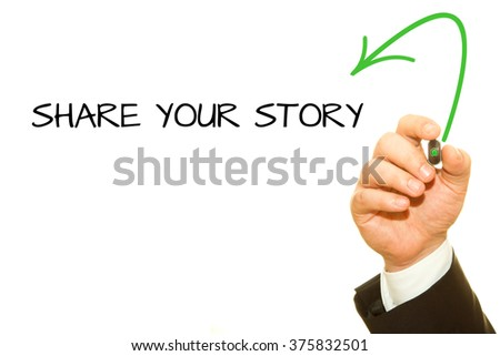 Businessman hand writing What's Your Story? question on a transparent wipe board. - stock photo