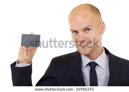 Businessman handing a blank card over white background