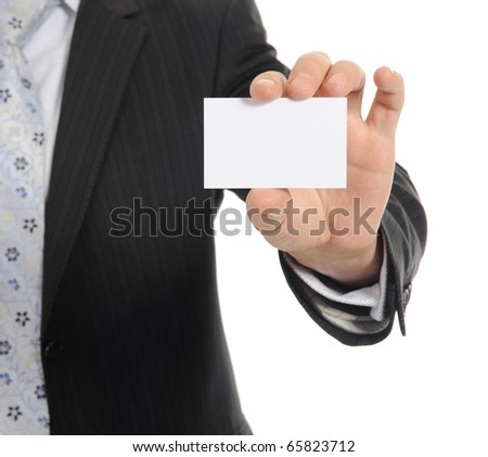 businessman handing a blank. Isolated on white background - stock photo
