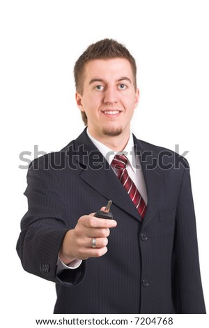 Businessman handing over car key on white background