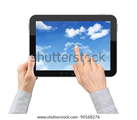 Businessman hands are holding and point on contemporary tablet pc with cloudscape on screen. Concept on cloud-computing theme. Isolated on white. - stock photo
