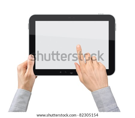 Businessman hands are holding and point on touch screen device. Isolated on white.