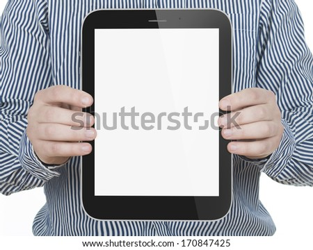 Businessman hands are holding the touch screen device. Vertical composition. - stock photo
