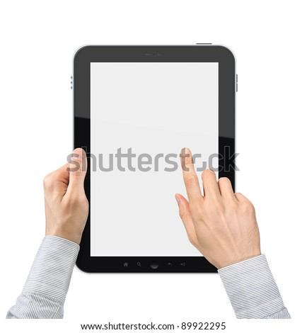 Businessman hands holding and touching on a blank digital tablet pc. Isolated on white. - stock photo