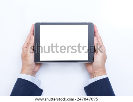 Businessman hands holding digital tablet computer on white background
