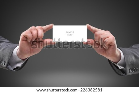 businessman hands holding empty board - stock photo