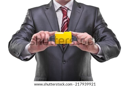 businessman hands holding folder Isolated on white background  - stock photo