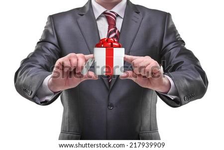 businessman hands holding gift box Isolated on white background  - stock photo