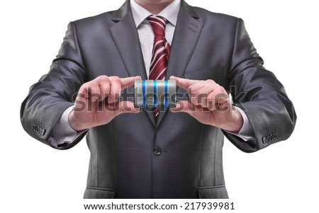 businessman hands holding hdd Isolated on white background  - stock photo