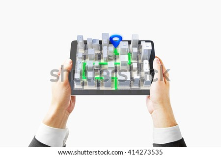 Businessman hands holding mobile device with 3D navigator isolated on white background, 3D Rendering - stock photo