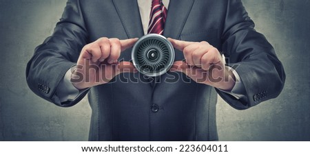 businessman hands holding object - stock photo