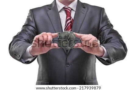businessman hands holding safe object Isolated on white background  - stock photo