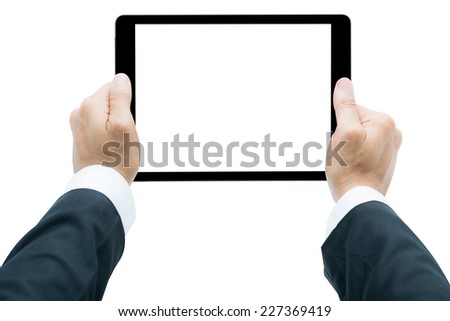 Businessman hands holding tablet Isolated on over white background - stock photo